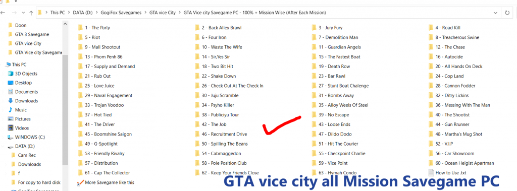 GTA Vice city Savegame PC - Mission Wise (After Each Mission)