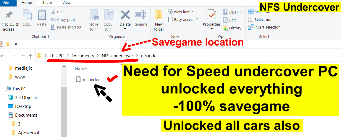 Need for Speed undercover Savegame file PC - 100% - unlocked Everything