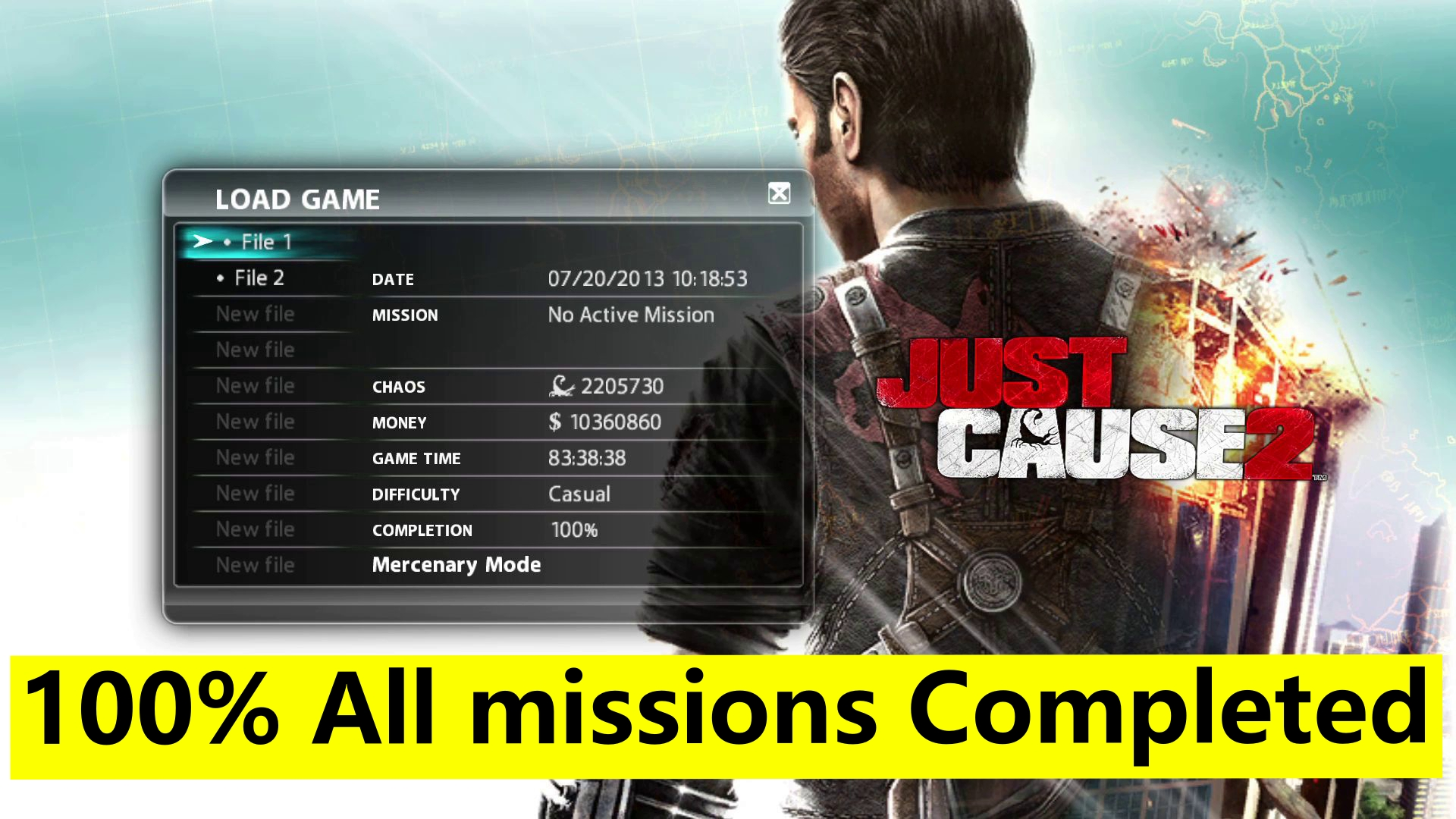 Just Cause 2 100% Savegame PC - All missions completed Savegame